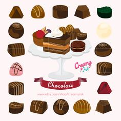 Delicious chocolate digital clip art featuring different flavour and types of chocolate truffle, cakes, desserts and more. #clipart #vector #design See more at creamyink.etsy.com