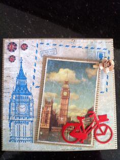 Stempels + knoopjes zijn van Docrafts. Plaatje is van Studiolight (Vintage serie). Snijmal fiets is van Boekenvoordeel (CraftUnlimited)