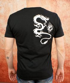 Chinese Dragon T-Shirt- Black and White Tattoo Dragon Cotton Premium Quality Tee Shirt By Goddess Gear Designs on Etsy, $20.00