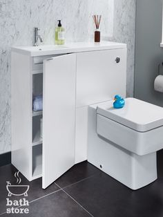The white gloss MyPlan mini unit is ideal for small bathrooms, particularly under-stairs cloakrooms. Designed specifically for use with the slimline polymarble basin (850mm) with an integrated top and the WC unit (500mm) to create a perfectly formed, fully functional toilet and basin area with plenty of storage. Perfect for the tightest of spaces.