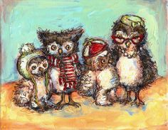 """Owl Family Photo"" Wall Art for Children by Jennifer Stables for Oopsy Daisy 14x10 $59 and 18x14 $89 (20% off + FREE shipping on orders over $99 thru 5/27)"