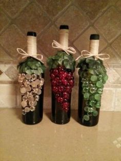 Decorated Wine Bottles ... diy project by helga