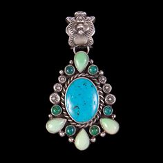 Sterling Silver, Malachite, Variscite and Turquoise Pendant by Carlos Benavidez