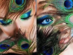 Peacock inspired dramatic eye makeup ideas If you want to try a different eye makeup look, maybe you can skip your usual smoky eye makeup, and . Peacock Eye Makeup, Dramatic Eye Makeup, Smoky Eye Makeup, Colorful Eye Makeup, Dramatic Eyes, Peacock Halloween, Peacock Costume, Halloween Eye Makeup, Halloween Hair