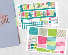 Available at CraftedByCorley on Etsy: June Monthly Sticker Set - Erin Condren Vertical and Horizontal Planners and More