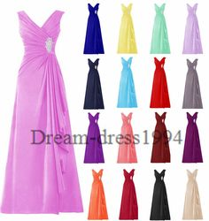 STOCK Plus V-Neck Formal Evening Party Prom Ball Gown Bridesmaid Dress Size 6-20
