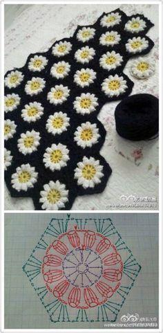não è a coisa mais linda do mundo esse hexagonal com margarida ...   baci       via     https://www.crochetkingdom.com/