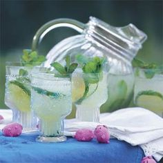 The very best Tequila Mojitos -    1 cup water  3/4 cup sugar $  1 cup fresh mint sprigs  2 cups lemon-lime soft drink, chilled $  1 cup fresh lime juice $  1/2 cup tequila  Garnish: fresh mint sprigs, lime slices