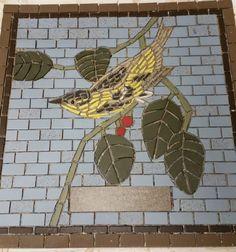 Audubon mosaic tile - Carbonated Warbler 60