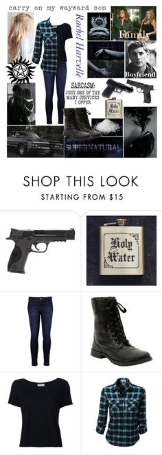 """""""If My Friend Was in Supernatural // Supernatural OC"""" by demolition-vampire ❤ liked on Polyvore featuring All Black, Smith & Wesson, Levi's, Hot Topic, Humör and Frame"""