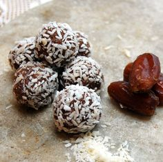 Quinoa Date Nut Truffles:  The creamy, crunchy texture of the quinoa makes an irresistible combination with the chocolaty nutti...| #texture #design #3D #surfacedesign #organic #natural #food
