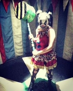 Mallet. Girl Clown. Evil Clown. Makeup. Costume. Spinning Floor. Clown Room. Haunted House.