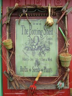 Potting Shed Sign on door before vine| homeiswheretheboatis.net #garden #spring