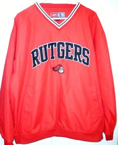 ad1e088eb2b Rutgers Red Jacket Windbreaker V Neck Pullover Scarlet Knights Mens Large  NJ  ProPlayer  RutgersScarletKnights