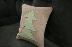 Burlap Christmas Tree Pillow