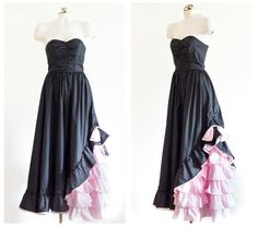Black strapless gown with pink ruffles by TimeTravelFashions on Etsy