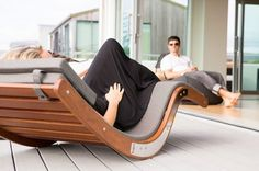wooden sun loungers modern outdoor furniture pool deck ideas