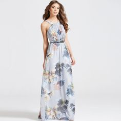 A chiffon maxi dress with straps in all over floral print.