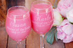 Toasting Glasses Personalized Wine Glasses by UrbanFarmhouseTampa Mother Of The Groom Gifts, Bride And Groom Gifts, Mother Gifts, Mother Of The Bride, Gifts For Mom, Custom Wine Glasses, Personalized Wine Glasses, Personalized Wedding Gifts, Rustic Gifts