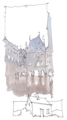 De retour d'un stage de dessin dans les rues du Marais à Paris. Nous nous sommes intéressés, pendant deux jours (pluvieux), aux belles archi... Croquis Architecture, Watercolor Architecture, Art And Architecture, Pen And Watercolor, Watercolor Paintings, Watercolours, Murals Street Art, Outdoor Paint, Urban Sketching