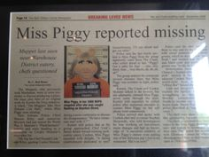 Miss Piggy Reported Missing