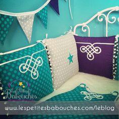 Parure de lit bébé thème oriental colors of Les petites babouches - tissu Michael Miller fabric - baby cot linen - nursery - moroccan inspiration