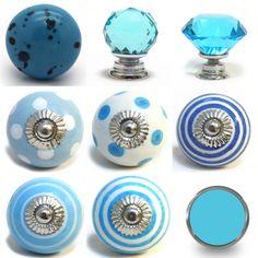 Antique Vintage Style Aqua Glass Cabinet Knobs Pulls 1.5-Inch | Aqua ...