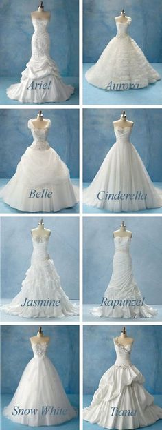 Disney Princess Dresses by Alfred Angelo. Makes me want to get married again just so I can really be Cinderella!