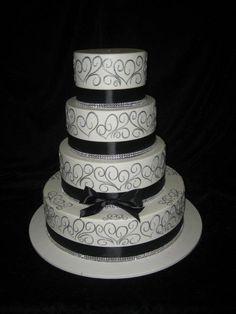 Black And Silver Cake | Craft Wedding Cake Serving Sets, Engraved Cake Servers, Wedding Cake ...