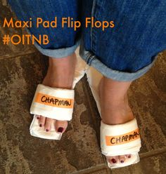 Telling My Story- @TJZMommy: How to Host an 'Orange is the New Black' Girl's Night In Party- how to make Maxi Pad flip flops