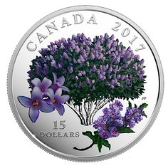 Pure Silver Coloured Coin - Celebration of Spring: Lilac Blossoms (2017)