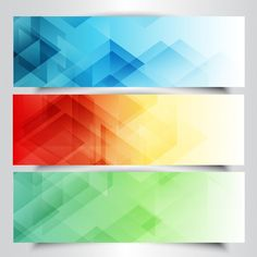 Collection of modern banners with in low poly design Vector | Free Download
