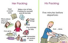 Very funny! How men pack for a trip vs. how women pack for a trip