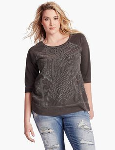 Lucky Brand Textured Sweatshirt Womens