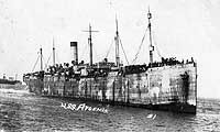 """USN Ships--USS Artemis (ID # 2187), 1919-1919.Crowded with homeward-bound troops, 1919.  The original image is printed on post card (""""AZO"""") stock. A note on the reverse of this card states: """"Left Brest France July 21st 1919. Arrived Newport News Aug. 3 1919."""""""