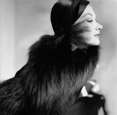 Wearing a fox stole by Maximilian 1951 photgraphed  by Frances McLaughlin-Gill.