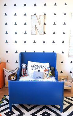 Modern Big Boy Room With Fun Cobalt Blue Toddler Bed
