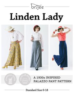 Linden Lady | 1930s Inspired Palazzo Pants Pattern by Brijee Patterns