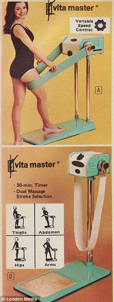 Well, funny vintage losing weight scam ads from the 1970s.  Home devices: The funny snaps show a range of products that were designed to help shed the pounds from the comfort of your own home
