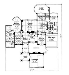 First Floor Plan of European   House Plan 66435. Ultimate! I love the courtyard. The ONLY thing to change is direction of the garage doors.