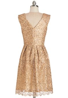 Fun One Like You Dress in Gold. (back)Tonight, youre pairing the delicate lace and dazzling sequins of this gilded dress with your biggest smile and your best dance moves! #gold #prom #modcloth