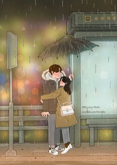 Heart-Warming Illustrations Depict The Romantic Moments Of A Happy Couple Cute Couple Drawings, Cute Couple Art, Cute Drawings, Cute Couples, Romantic Anime Couples, Happy Couples, Paar Illustration, Couple Illustration, Love Cartoon Couple
