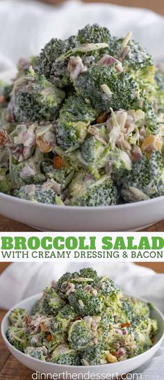 Broccoli Salad is an easy summer salad with raisins, bacon and sunflower seeds for your barbecues, picnics, and summer potlucks that can sit without wilting! Broccoli Salad is an easy summer salad with raisins, baco Easy Summer Salads, Summer Salad Recipes, Easy Salad Recipes, Easy Salads, Easy Summer Appetizers, Easy Summer Dinners, Summer Potluck, Recipes Dinner, Broccoli Salad With Raisins