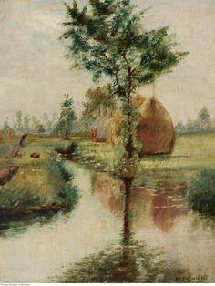 Stacks over a stream / Stogi nad strumieniem, Władysław Podkowiński Landscape, Painting, Instagram, Digital Art, Sculptures, Artists, Czech Republic, Impressionism, Slovenia