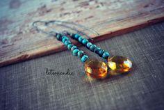 Turquoise Stick Earrings - Long Dangle Amber Yellow Quartz - Beaded Boho Southwestern - Shabby Chic - Feminine - Luxe - Organic by letemendia on Etsy