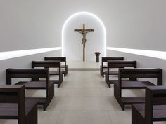 Interior of the St Moritz church, founded in the 11th century, renovated by John Pawson.