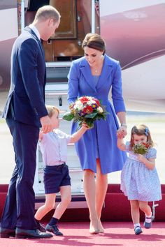 Prince William Duke of Cambridge Catherine Duchess of Cambridge Prince George of Cambridge and Princess Charlotte of Cambridge arrive at Berlin...