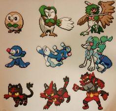 Pokémon Sun & Moon Starters and Evolutions Perlers