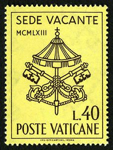 The Vatican issued three stamps in vertical format. At the top of the stamp appears SEDE VACANTE. Below this appears MCMLXIII (1963), the year of Pope John XXIII's death. In the center appears the symbolic canopy with the Crossed Keys, indicating that the cathedral throne of St. John Lateran stands vacant. In the bottom right corner appears the value, and along the bottom appears POSTE VATICANE