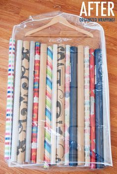 15 Ridiculously Smart Organization Hacks - Store wrapping paper in a clear garment bag and hang in a closet. I missed getting a storage bag in the sales, so I will try this :) Organisation Hacks, Storage Hacks, Craft Organization, Craft Storage, Organizing Tips, Gift Bag Storage, Organising Hacks, Garage Storage, Closet Organization Storage